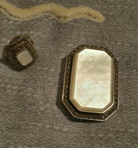 Комплект брошь и кольцо