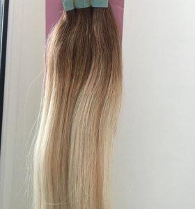 Волосы на лентах омбре,новые,20 лент,55 см