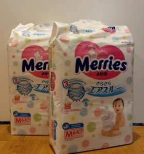 Подгузники Merries M, упаковка 64 шт
