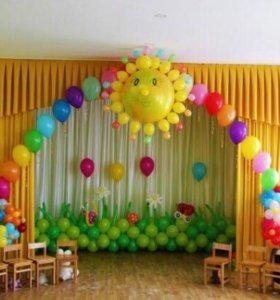 Оформление воздушными шарами в детских садиках