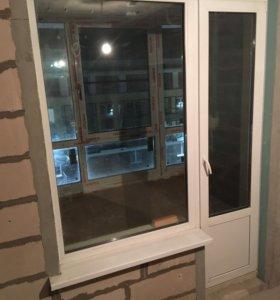 Теплые пластиковые окна с дверью