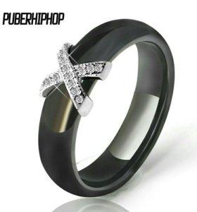 Кольцо новое керамика+серебро.