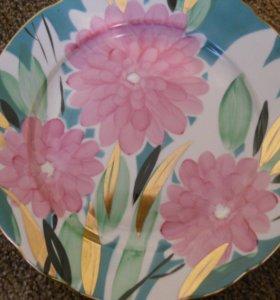 Фарфор тарелка настенная хризантемы цветы дулево
