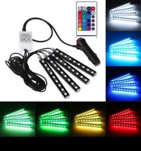 Подсветка в салон разноцветная управление с пульта