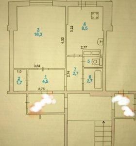 Квартира, 1 комната, 38.3 м²