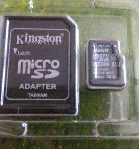 Карта памяти microSD Kingston 32Gb 10class+адаптер