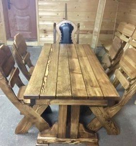 Мебель из массива дерева в баню,беседку.Стол стул