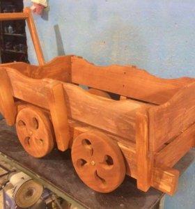 Телега деревянная декоративная