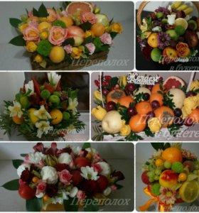 Букет из фруктов, сладостей, цветов, овощей