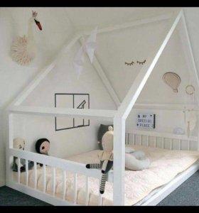 Кроватка манеж домик