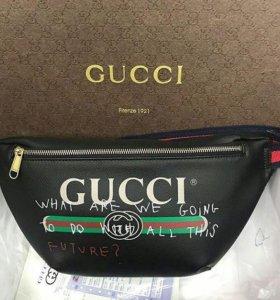 Gucci сумка на пояс кожа натур