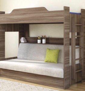 Кровать детская Новая двухъярусная «Ясень-90»