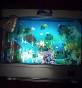 Светящийся аквариум с двигающимися рыбами