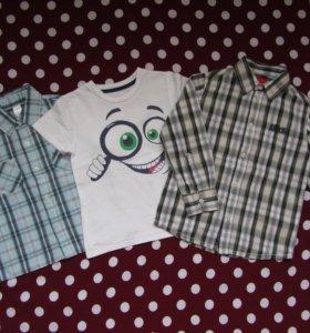Две рубашки и футболка 98-104