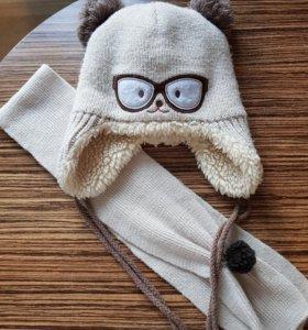 Шапочка с шарфом на 2-4 года