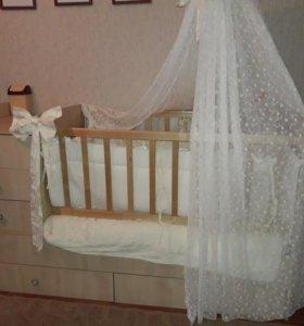 кроватка матрас балдахин бортики постельное игрушк