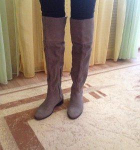 Замшевые сапоги-ботфорты 37 размер Bershka