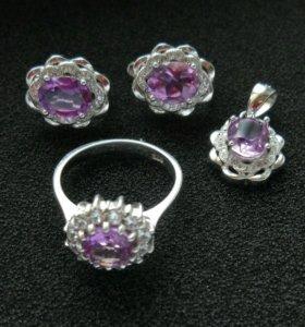 Комплект серебро аметист кольцо 18 р. серьги кулон