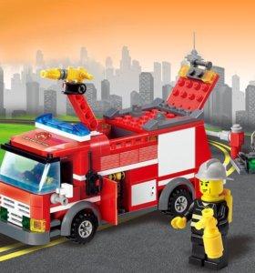 Пожарная машина. Конструктор новый.