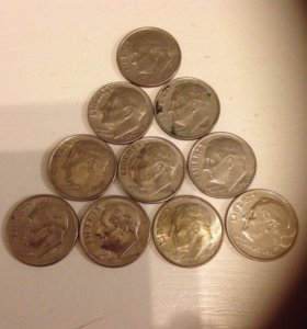 Лот монет США-1 дим(10 штук) без повторов