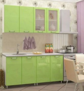 Кухня Настя 1,6 Салатовый металик мдф