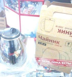 Новый чайник электрический 1,8 нержавейка диск