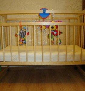 Детская кроватка и матрас кокосик