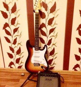 Электрогитара Fender Stratocaster + комбик