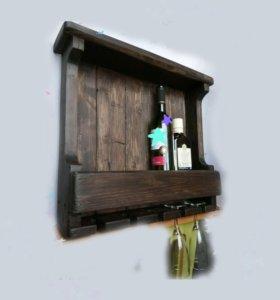 Полка для вина и бокалов Мужской подарок