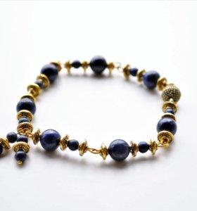 Женский браслет с лазуритом Золото ацтеков