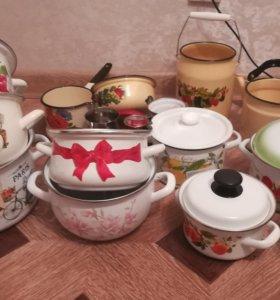 Новая эмаль посуда брак чайник кастрюли бидон ковш