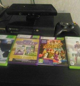 Xbox 360 + геймпад + четыре игры+ кинект