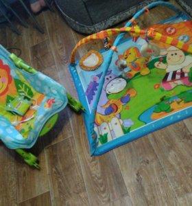 Детский развивающий коврик и качеля шезлонг