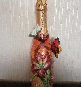 Шампанское в стиле декупаж