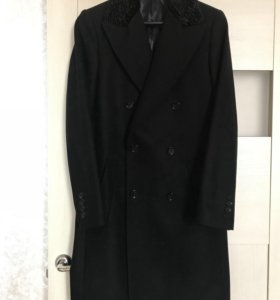 Новое двубортное шерстяное пальто