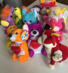 детские мягкие игрушки ( новые ) 10 штук