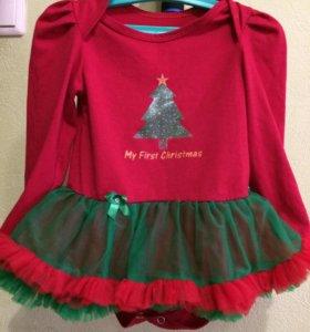 Новогоднее платье-боди+повязка