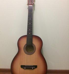 Акустическая гитара ,с чехлом и струнами .