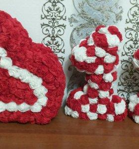 Объемное сердечко и единицы из салфеток
