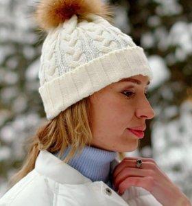 Шапка зимняя с помпоном новая