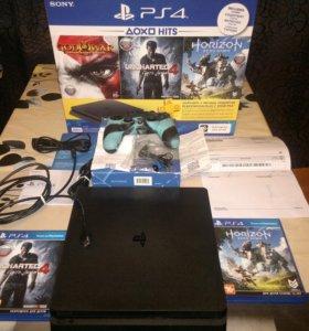 PS 4 slim+игры новая