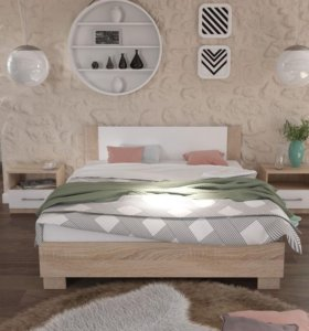 Кровать Дуб Сонома с белым