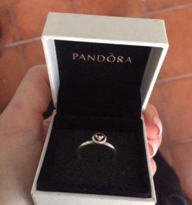 Кольцо pandora серебро+золото