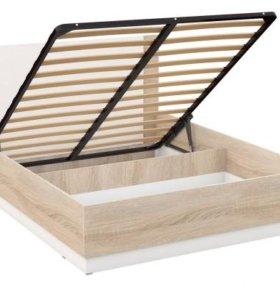 Кровать Дуб Сонома/белая с подъемным механизмом
