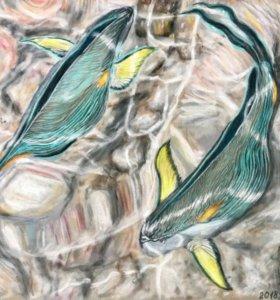 "Картина ""Рыбки красного моря""."