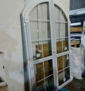 Дверь пластиковая арочная двуполая