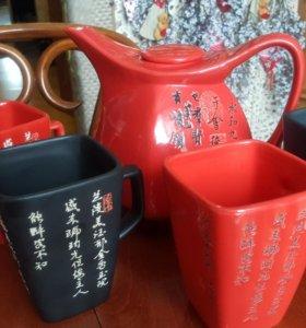 Чайник заварочный и 4 кружки