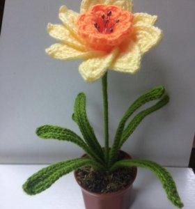 Цветок. Нарцис вязаный