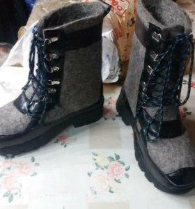 валенки с подошевой и шнурками