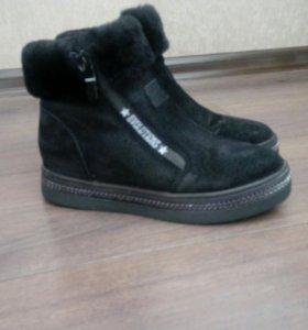 Ботинки зимние, замша